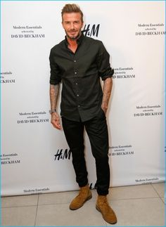 September 2016: Attending the launch of his H&M Modern Essentials selection in Los Angeles, California, David Beckham poses for pictures.