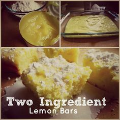 Two Ingredient Lemon Bars in  30 minutes! Two Ingredient Lemon Bars Makes about 15 bars  1 box angel food cake mix 22 ounces lemon pie filling  Preheat oven to 350 degrees. Combine cake mix and pie filling together in a large mixing bowl.