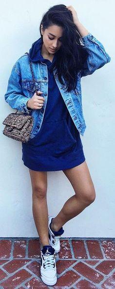 #popular #shay #mitchell #outfits | Denim Jacket + Sweatshirt Dress