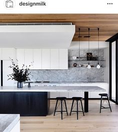Triple Kick in black in the Holly Penthouse. Interior design by Triple Kick in black in the Holly Penthouse. Interior design by for Styling by Simone Haag and… - Door Rustic Kitchen, New Kitchen, Kitchen Decor, Awesome Kitchen, Kitchen Ideas, Square Kitchen, 1960s Kitchen, Ranch Kitchen, Colonial Kitchen