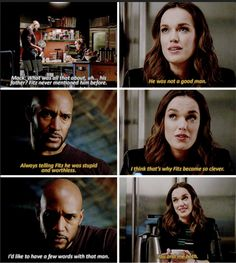 """""""What was all that about, uh, his father? Fitz never mentioned him before"""" - Mack and Jemma #AgentsOfSHIELD"""