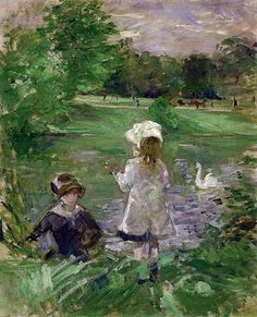 Berthe Morisot - On the Shore of the Lake, 1883 (Musee Marmottan Monet - Paris France) at Museo Thyssen-Bornemisza Madrid Spain
