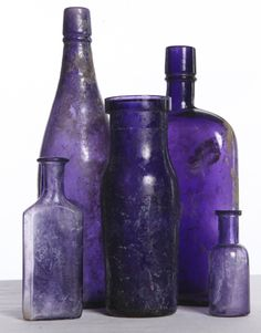 Pre WWI antique purple bottles.