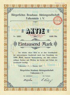 HWPH AG - Historische Wertpapiere - Bürgerliches Brauhaus Aktiengesellschaft Falkenstein i. V. Falkenstein im Vogtland, 01.10.1907, Aktie über 1.000 Mark, später auf eine Vorzugsaktie und 1.000 RM umgestellt, #160,