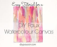 DIY Faux Watercolour on Canvas via diypassion.com
