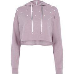 River Island Light purple pearl embellished cropped hoodie ($70) ❤ liked on Polyvore featuring tops, hoodies, hoodies & sweatshirts, purple, women, embellished crop top, hoodie crop top, long sleeve hooded sweatshirt, cropped hooded sweatshirt and hooded sweatshirt