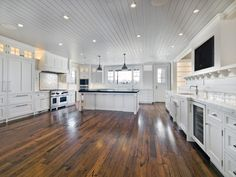 Cottage Kitchen - beautiful reclaimed oak wood floor by Reclaimed Designworks, Charleston, SC