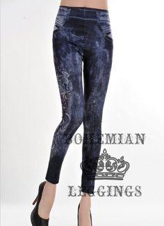 Graph Printed Leggings Imitation Jeans