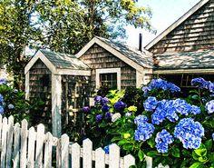 Nantucket Cottage Art Print by Tammy Wetzel Nantucket Cottage, Nantucket Style, Nantucket Island, Coastal Cottage, Cottage Homes, Cute Cottage, Beach Cottage Decor, Cottage Style, Beautiful Homes