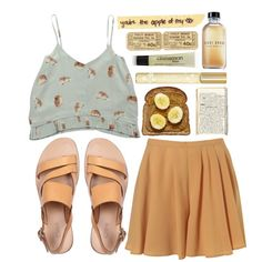 A fashion look from February 2013 featuring yellow shorts, strappy flat sandals and lip shine. Browse and shop related looks.
