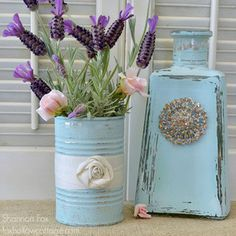 Tin Can Craft Challenge: Reader Submissions | Distressed Aqua Tin Can with Ribbon Rosette | AllYou.com