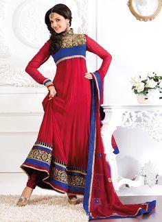 $77 Ravishing Monica Bedi Red Georgette Anarkali Suit