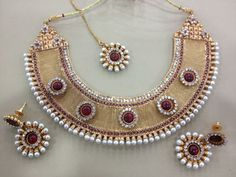 Indian style collar necklace with earrings, gold, pearls, gemstone