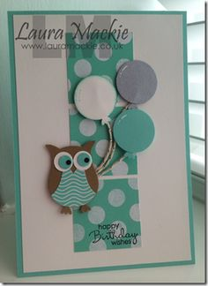 images of birthday cards with Stampin Up Owl Punch Kids Cards, Baby Cards, Arte Punch, Tarjetas Stampin Up, Owl Punch Cards, Kids Birthday Cards, Happy Birthday, Birthday Wishes, Karten Diy