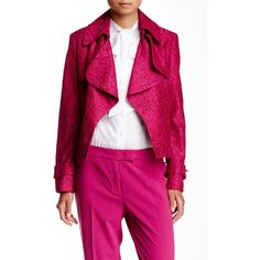 Anne Klein Lace Trench Jacket (4.505 RUB) ❤ liked on Polyvore featuring outerwear, jackets, orchid, pink jacket, fleece-lined jackets, pink lace jacket, lace jacket and long sleeve lace jacket