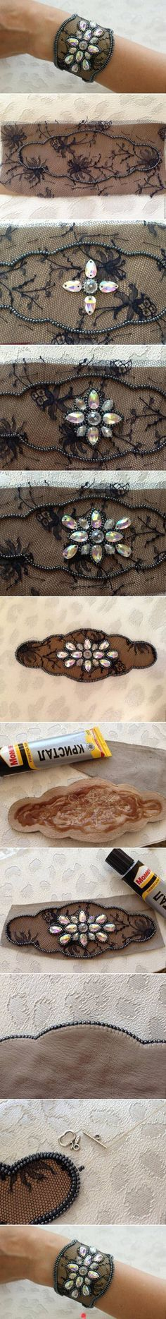 black lace n pearls- lace cuff
