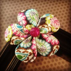 Paisley Print Flower Hairclip...Girls by BellesBows2011 on Etsy, $5.00