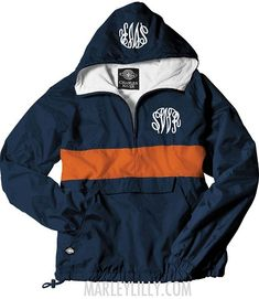 Monogrammed Navy and Orange Pullover Rain Jacket