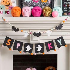 DIY Ghost & Bat Beaded Garland