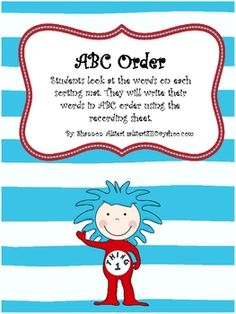 This Dr. Seuss ABC Order activity is great for Kindergarten through second grade. Students will have the opportunity to alphabetize fun Dr. Seuss w...