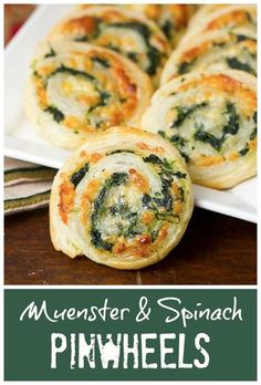 Muenster and Spinach Pinwheels |  Made with puff pastry, these cheesy appetizers are out of this world!!! @lizzydo: