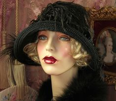 1920'S VINTAGE STYLE GATSBY GREY & BLACL BEADED ROSE FEATHER CLOCHE FLAPPER HAT in Clothing, Shoes & Accessories, Women's Accessories, Hats   eBay