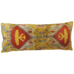 Yellow Silk Velvet Ikat Bolster Pillow   From a unique collection of antique and modern pillows and throws at https://www.1stdibs.com/furniture/more-furniture-collectibles/pillows-throws/
