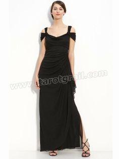 Sexy Sheath / Column Off-the-shoulder Ruffles Floor-length Chiffon Dress / Evening Dress