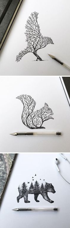 Pen & Ink Depictions of Trees Sprouting into Animals by Alfred Basha
