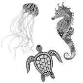 Zentangle stylized black turtle, sea horse and jellyfish. Hand D — Stock Vector #80310108