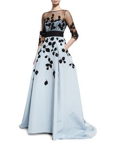 Leaf-Embroidered Silk Faille Illusion Gown, Black/Blue by Carolina Herrera at Neiman Marcus.