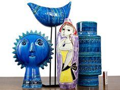 "AldoLondi for Bittossi ""Rimini Blu"" Sculptures plus Rarity: Marcello Fantoni Beautiful 1950s Italian Modernist Vase"