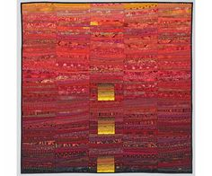 Red art quilt. Square quilted wall hanging. Modern by AnnBrauer