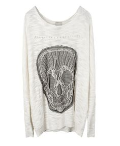 White Knit Top with Skull Pattern in Loose Fit