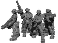 Female Stealth Gang with Automatic Rifles 3d printed Figurines SciFi