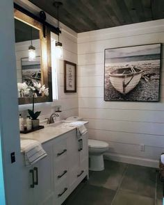 Shiplap bathroom walls have taken the design scene by storm in the past five years. Shiplap creates the classic rustic look that is well-loved by designers and home DIYers alike. Shiplap is affordable and easy to install! Shiplap Bathroom Wall, Bathroom Renos, Bathroom Renovations, Home Remodeling, Remodel Bathroom, Bathroom Cabinets, Shiplap Wall In Bathroom, Basement Bathroom Ideas, Bathroom Ceilings