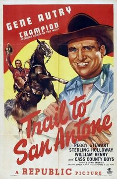 Gene Autry, Sterling Holloway, Peggy Stewart, and Champion in Trail to San Antone (1947)