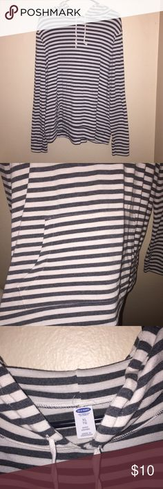 Dark Gray and Cream Striped Hoodie tiny bit longer from the back, but not much. has a pocket in front, has been worn maybe 4 times. Old Navy Tops Sweatshirts & Hoodies