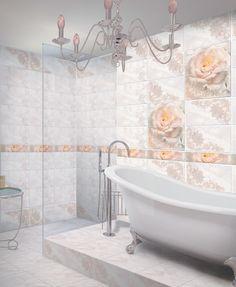 Коллекция «АМЕЛИЯ» Коллекция «Амелия» в буквальном смысле расцветает от обилия кремовых роз. По вашему желанию плитки с растительным орнаментом можно располагать по-разному, но это всегда будет одинаково прекрасно. Clawfoot Bathtub, Bathroom, Washroom, Bath Room, Bath, Bathrooms