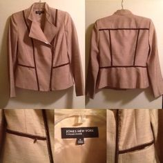 "HP CASUAL FRIDAY JNY Moto Jacket Almost New Size 6 Jones New York Chino Brown Moto Jacket from ""Riverside Drive"" Collection.  Chocolate trim and gold zipper, with faux zipper ""pockets"" at front of jacket.  Fully lined.  Worn twice. Jones New York Jackets & Coats"