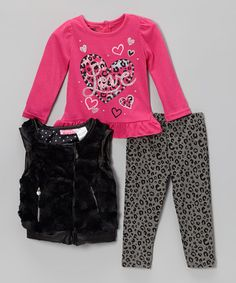 38b37fe403a5d Take a look at this Pink & Black Leopard Faux Fur Vest Set - Infant