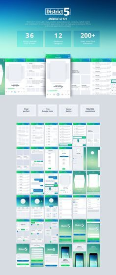 District 5 is a carefully & expertly crafted mobile user interface kit. for quick effortless prototyping, and mobile app design assistance. It contains 36 app screens, 12 categories, that can help you to build any iPhone or Android application with ease. Android App Design, Ios App Design, Iphone App Design, Iphone App Layout, Mobile App Design, Gui Interface, Interface Design, App Design Inspiration, Ui Kit