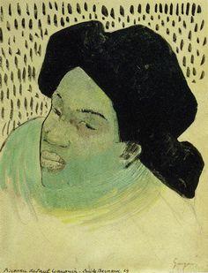 Paul Gauguin - Head of a Tahitian Woman Paul Gauguin, Gauguin Tahiti, Portrait Embroidery, Impressionist Artists, Still Life Photography, Wedding Photography, Camille Pissarro, A Level Art, Vintage Artwork