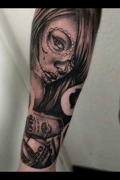 Tattoo by guivy art for sinners tattoo geneva switzerland work in progress catrina - Santa muerte tatouage signification ...