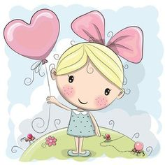 Illustration of Cute Cartoon Girl and flowers on a pink background vector art, clipart and stock vectors. Cartoon Cartoon, Cute Cartoon Girl, Cartoon Drawings, Cute Drawings, Cartoon Design, Illustration Mignonne, Cute Illustration, Clip Art, Cute Images