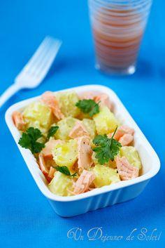 Salade légère de pommes de terre, moutarde et saumon - Potatoes and salmon salad
