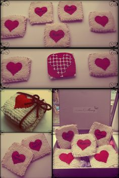 Hand Knitted coasters made for a friends wedding gift, I used felt for the heart and backs and non slip matt's cut into heart shapes for the bottom of the coasters to stop them slipping.