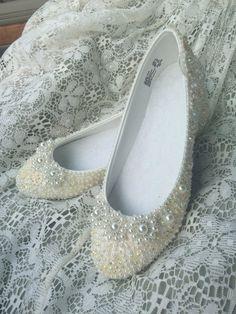 Elfina Bourique Boston Wedding Shoes Bridal Flats Rhinestones Pearls Hand…