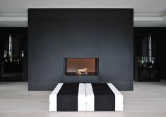 Anouska Hempel Design Architects, Interior Design, Landscapes, Product Design and Furniture Fireplace, formal balance* Home Fireplace, Fireplace Surrounds, Fireplaces, Modern Interior Design, Interior Styling, Dark Elements, Black And White Interior, Apartment Projects, Round Design