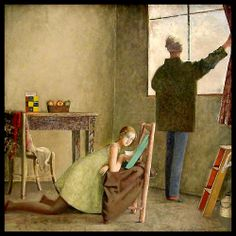 Painter and his Model (1981). Balthus (Polish-French, Expressionism, 1908-2001). Tempera on canvas. Musée National d'Art Moderne, Paris.
